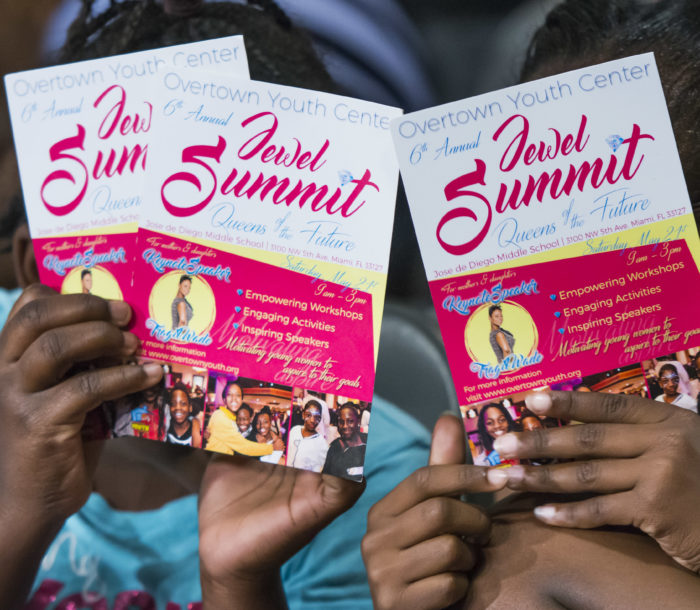 "The Overtown Youth Center presented the 6th Annual Jewel Summit 2016 with guest speaker Tragil Wade (Dwyane Wade's sister) at Jose De Diego Middle School in Miami on May 21st , 2016. The Jewel Summit also featured a Zumba workout by Suyumi Quiroz, A Girls Empowerment Session ""Knowing your self worth,"" A Womens' Empowerment Panel, ""Being a Visionary for the Family,"" Art of a Jewel, Ice Cream Social and Close out. (Photo by MagicalPhotos.com / Mitchell Zachs)"